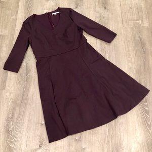 Boden V Neck Fit N Flare Eggplant Purple Dress 12